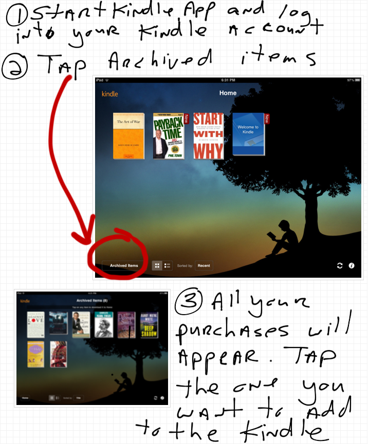 how to add a previously purchased kindle book to your ipad